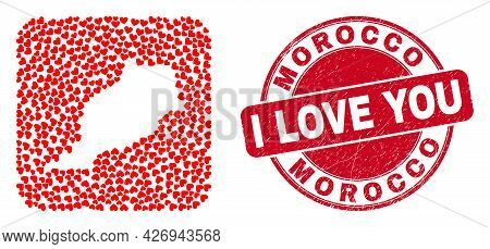 Vector Mosaic Morocco Map Of Love Heart Elements And Grunge Love Seal Stamp. Mosaic Geographic Moroc