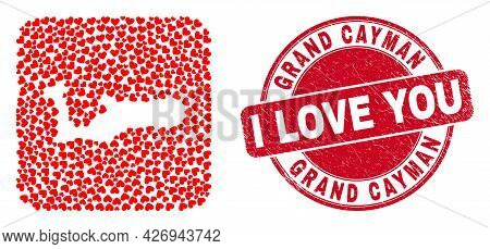 Vector Collage Grand Cayman Island Map Of Love Heart Items And Grunge Love Stamp. Collage Geographic