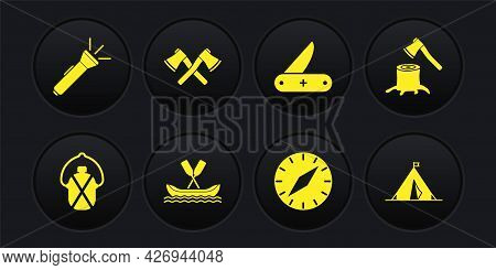 Set Canteen Water Bottle, Wooden Axe In Stump, Rafting Boat, Compass, Swiss Army Knife, Crossed Wood