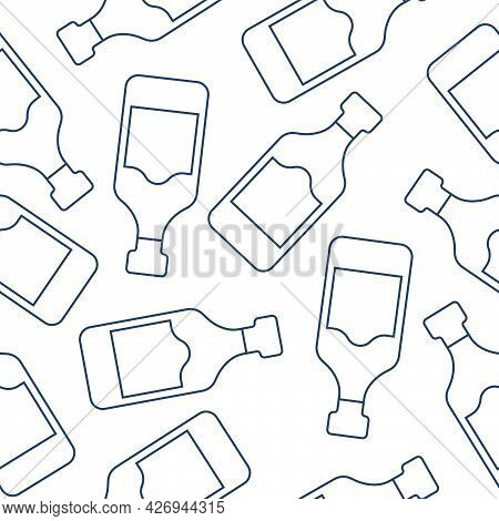 Rum Bottles Seamless Pattern. Line Art Style. Outline Image. Repeat Template. Party Drinks Concept.