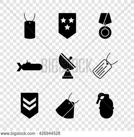 Set Military Dog Tag, Chevron, Reward Medal, Tags, Hand Grenade, Submarine And Radar Icon. Vector