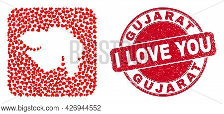 Vector Collage Gujarat State Map Of Love Heart Elements And Grunge Love Badge. Collage Geographic Gu