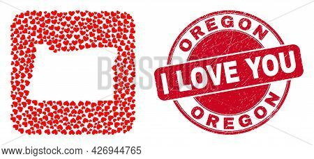 Vector Mosaic Oregon State Map Of Love Heart Elements And Grunge Love Seal Stamp. Collage Geographic