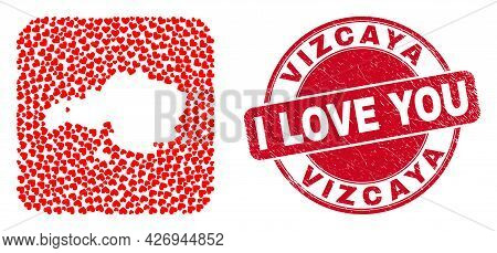 Vector Collage Vizcaya Province Map Of Valentine Heart Elements And Grunge Love Seal Stamp. Collage