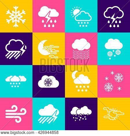 Set Fog And Sun, Snow, Cloud With Snow, Moon And Rain Lightning Icon. Vector