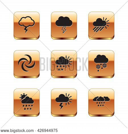 Set Storm, Cloud With Snow, Rain, Sun, Cloudy, Tornado, And, And Icon. Vector