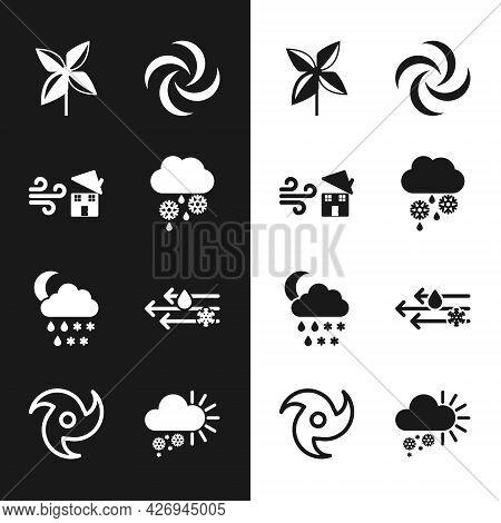 Set Cloud With Snow And Rain, Tornado Swirl, Pinwheel, Snow, Moon, Wind, Cloudy And Icon. Vector