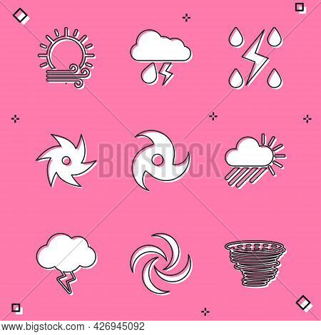 Set Wind And Sun, Cloud With Rain Lightning, Storm, Tornado, Cloudy, And Icon. Vector