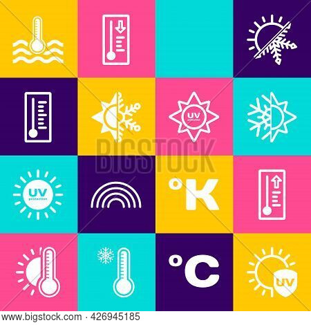 Set Uv Protection, Meteorology Thermometer, Sun And Snowflake, Rainbow With Sun, Water And Icon. Vec