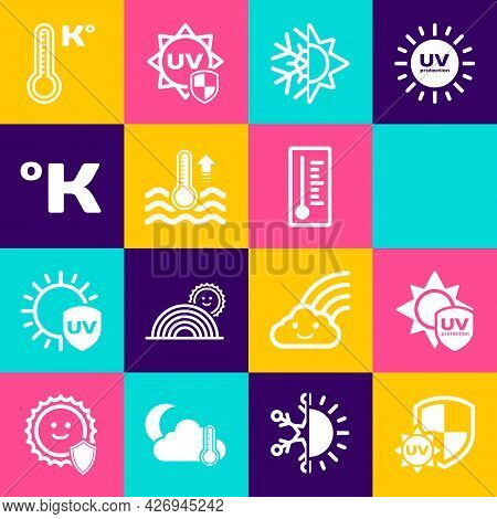 Set Uv Protection, Rainbow With Sun, Sun And Snowflake, Water Thermometer, Kelvin, Meteorology And I