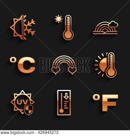 Set Rainbow With Heart, Meteorology Thermometer, Fahrenheit, Thermometer Sun, Uv Protection, Celsius