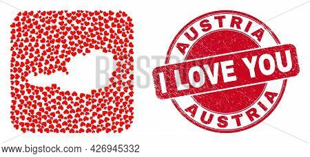 Vector Mosaic Austria Map Of Valentine Heart Items And Grunge Love Badge. Collage Geographic Austria