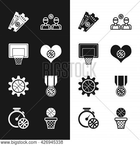 Set Heart With Basketball Ball, Basketball Backboard, Game Ticket, Players, Planning Strategy Concep