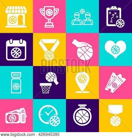 Set Basketball Medal, Game Ticket, Heart With Basketball, Players, On Sport Calendar, Sports Shop An
