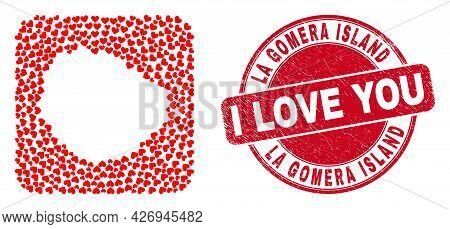 Vector Mosaic La Gomera Island Map Of Lovely Heart Items And Grunge Love Badge. Mosaic Geographic La