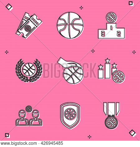 Set Basketball Game Ticket, Sports Winner Podium, Award With Basketball, Hand, Players And Shield Th