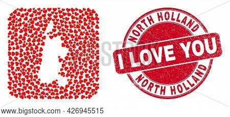 Vector Mosaic North Holland Map Of Lovely Heart Items And Grunge Love Badge. Mosaic Geographic North
