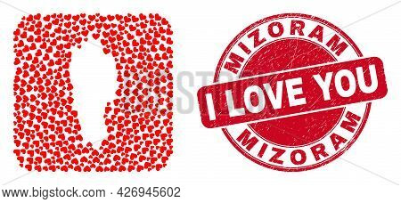 Vector Collage Mizoram State Map Of Lovely Heart Items And Grunge Love Seal Stamp. Collage Geographi