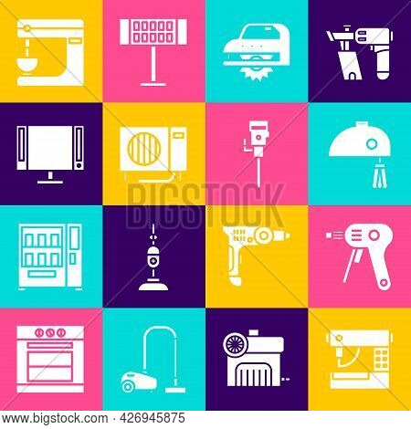 Set Sewing Machine, Electric Hot Glue Gun, Mixer, Circular Saw, Air Conditioner And Smart Tv Icon. V