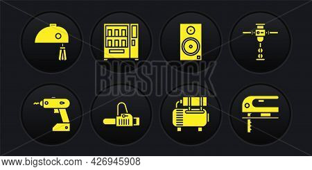 Set Electric Cordless Screwdriver, Construction Jackhammer, Chainsaw, Air Compressor, Stereo Speaker