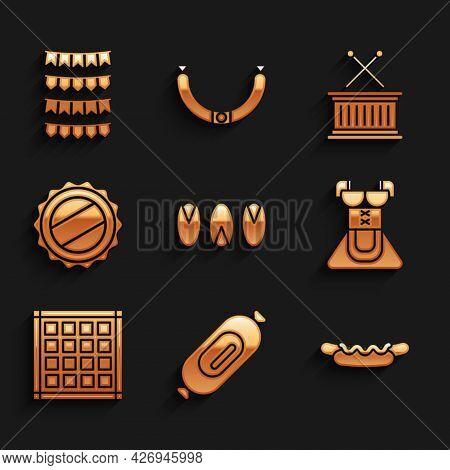 Set Pistachio Nuts, Salami Sausage, Hotdog Sandwich, Costume For Women Dirndl, Checkered Napkin, Bot