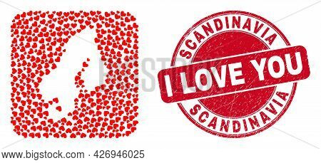 Vector Mosaic Scandinavia Map Of Love Heart Elements And Grunge Love Seal Stamp. Mosaic Geographic S