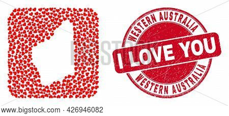 Vector Collage Western Australia Map Of Valentine Heart Elements And Grunge Love Badge. Mosaic Geogr