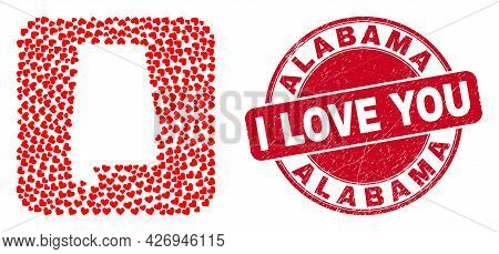 Vector Collage Alabama State Map Of Love Heart Items And Grunge Love Seal Stamp. Mosaic Geographic A