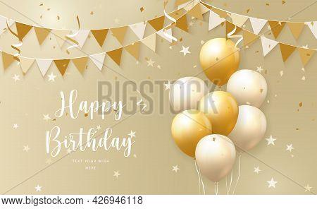 Elegant Yellow Golden Ballon And Ribbon Flag Happy Birthday Celebration Card Banner Template Backgro