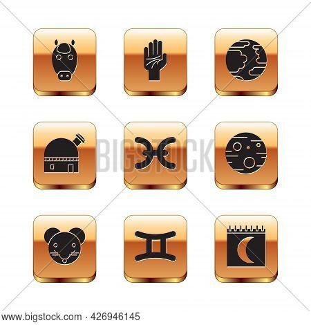 Set Horse Zodiac, Rat, Gemini, Pisces, Astronomical Observatory, Planet Mercury, Moon Phases Calenda