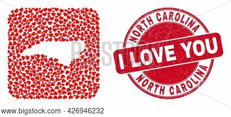 Vector Collage North Carolina State Map Of Love Heart Elements And Grunge Love Stamp. Mosaic Geograp