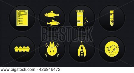 Set Chicken Egg In Box, Test Tube And Flask, Parasite Mite, Kidney Beans, Medicine Bottle Pills, Fis