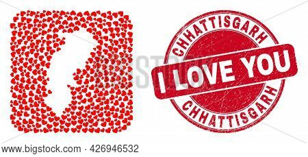 Vector Mosaic Chhattisgarh State Map Of Valentine Heart Items And Grunge Love Badge. Mosaic Geograph