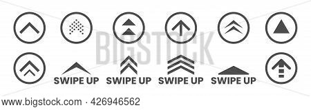 Swipe Up Set. Social Media Icons On White Background. Black Application Buttons. Arrows And Circles