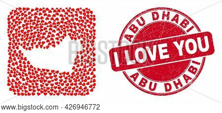 Vector Collage Abu Dhabi Emirate Map Of Lovely Heart Items And Grunge Love Seal Stamp. Collage Geogr