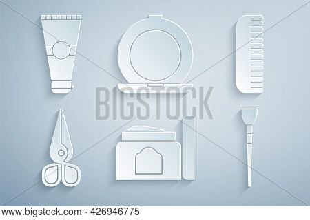 Set Cream Cosmetic Tube, Hairbrush, Scissors, Makeup, Powder With Mirror And Lotion Icon. Vector