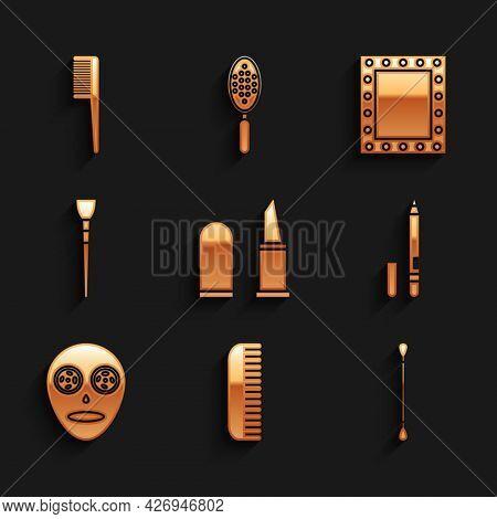 Set Lipstick, Hairbrush, Cotton Swab For Ears, Eyeliner, Eyebrow, Facial Cosmetic Mask, Makeup, Mirr