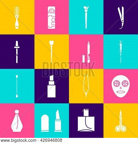 Set Scissors, Facial Cosmetic Mask, Syringe, Makeup Brush, Pipette, Hairbrush And Eyeliner, Eyebrow