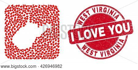 Vector Mosaic West Virginia State Map Of Love Heart Elements And Grunge Love Seal Stamp. Mosaic Geog