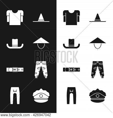 Set Asian Conical Hat, Man, Long Sleeve Shirt, Gardener Worker, Leather Belt, Camouflage Cargo Pants