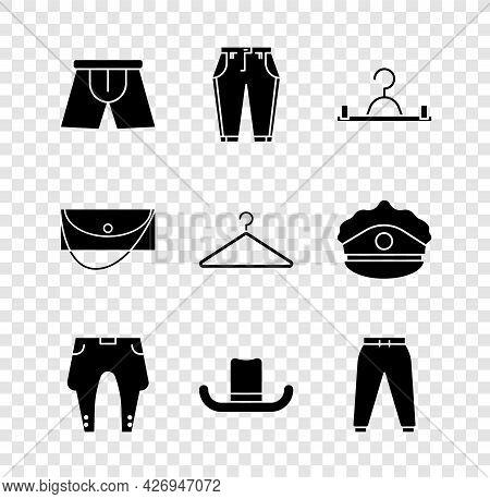 Set Men Underpants, Pants, Hanger Wardrobe, Man Hat, Sport, Clutch Bag And Icon. Vector