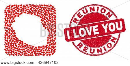Vector Mosaic Reunion Island Map Of Love Heart Items And Grunge Love Seal. Mosaic Geographic Reunion
