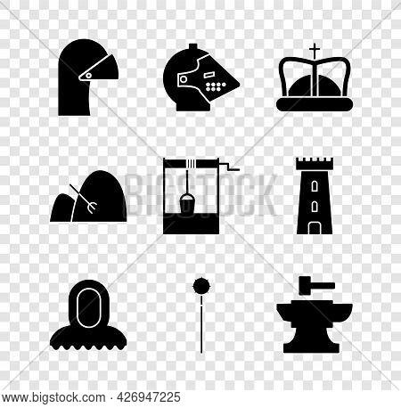 Set Medieval Iron Helmet, King Crown, Hood, Chained Mace Ball, Anvil For Blacksmithing Hammer, Bale