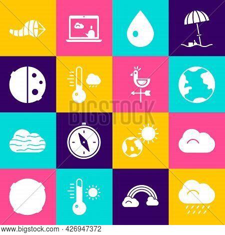 Set Cloud With Rain, Earth Globe, Water Drop, Meteorology Thermometer, Eclipse Of Sun, Cone Meteorol