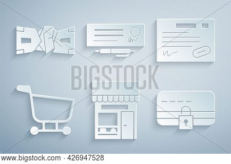 Set Shopping Building Or Market Store, Warranty Certificate Template, Cart, Credit Card With Lock, B