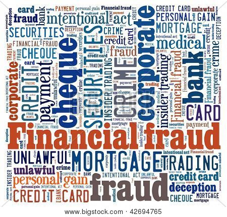 Financial; fraud in word collage