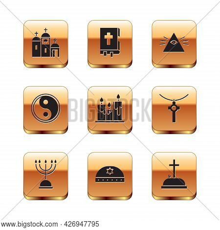 Set Church Building, Hanukkah Menorah, Jewish Kippah With Star Of David, Burning Candles, Yin Yang,