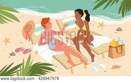 Girls On Travel Vacation, Tropical Sea Resort, Sunbathe On Summer Beach, Lying On Chair