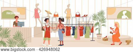 Seasonal Sales In Fashion Retail Store, Woman Trying On Shoes, Girls Standing Near Rack