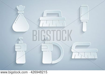 Set Dishwashing Liquid Bottle And Plate, Adhesive Roller, Brush For Cleaning, And Garbage Bag Icon.